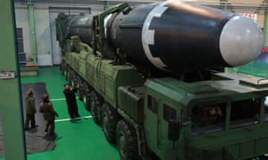 North Korean leader Kim Jong-un inspects a Hwasong-15 intercontinental ballistic missile in 2017.