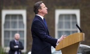 David Cameron does heavy pine.