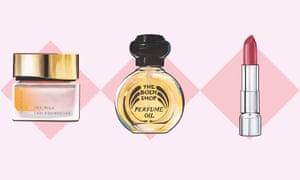 Discontinued ... Suqqu Cream Foundation, Body Shop Vanilla Perfume Oil and Rimmel Moisture Renew Lipstick. Illustration: Cristina Polop