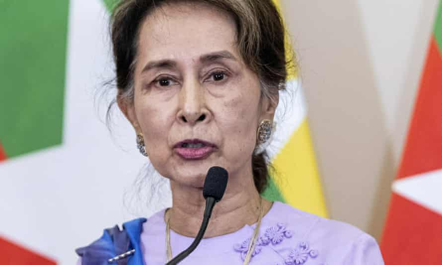 Myanmar's State Counselor Aung San Suu Kyi speaks during a joint press conference in Hungary.