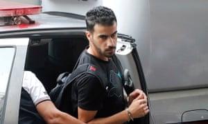 Bahraini refugee and Australian resident Hakeem al-Araibi is escorted into a Bangkok criminal court