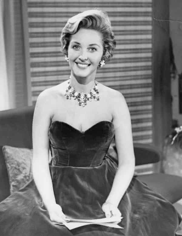 Katie Boyle at the BBC TV centre in Shepherd's Bush in 1961.