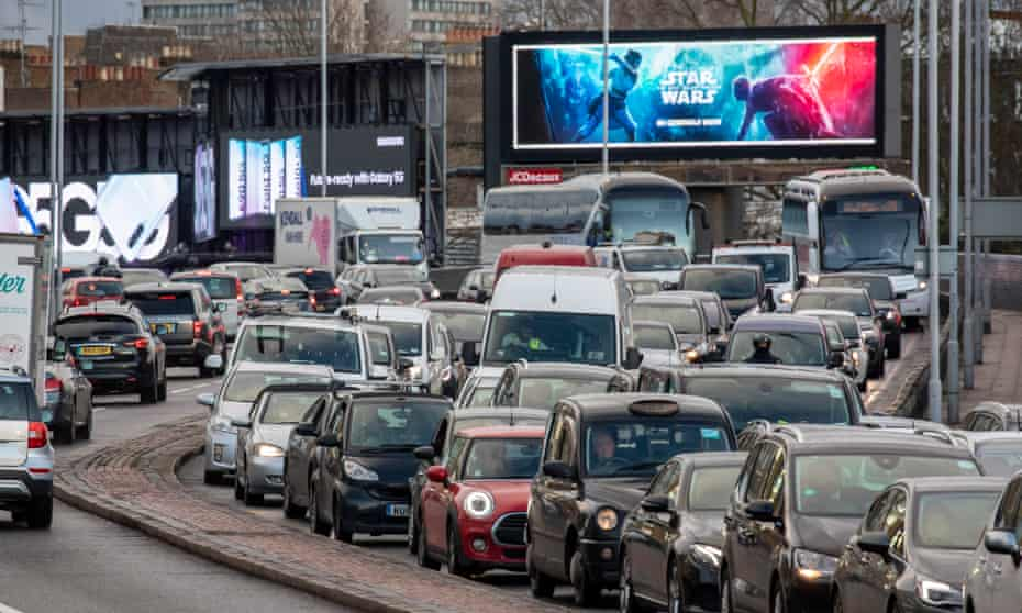 Traffic on the A4 Talgarth Road in London, December 2019