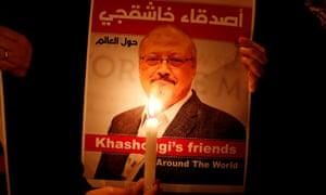 A poster with a picture of the Saudi journalist Jamal Khashoggi