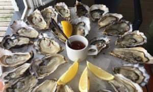 A platter of oysters.