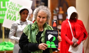 Author Margaret Atwood holds her new novel