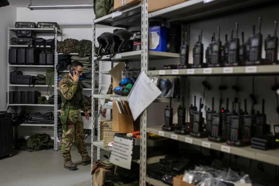 "Part of the tool room of the Squadrone Carabinieri Eliportato, or ""Cacciatori Calabria"" at the barracks of Vibo Valentia."