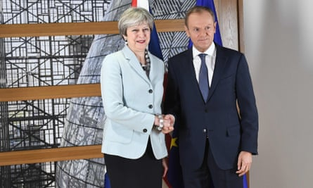 Theresa May and European council president Donald Tusk in Brussels on Friday.