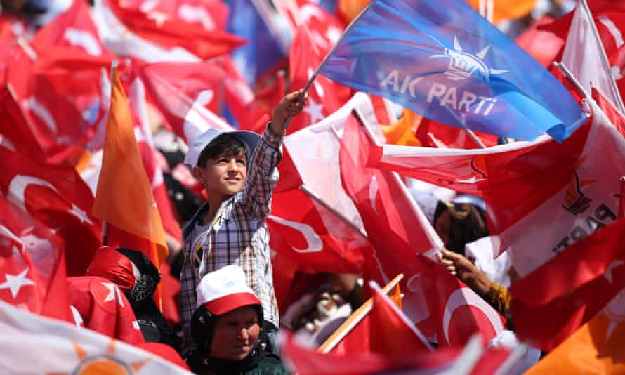 Justice and Development party campaigners in Sanliurfa. Few in Turkey believe Erdoğan will be denied the keys to the presidential palace once more.