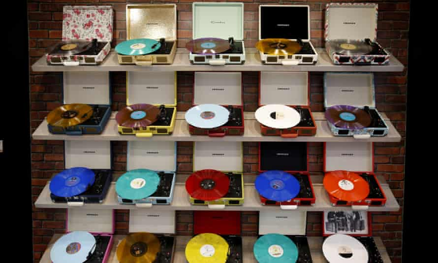 A selection of Crosley record players