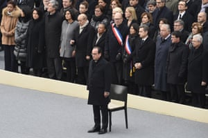"French President Francois Hollande attends with French members of government the ""national and republican"" tribute"