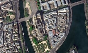 Satellite image of Notre Dame Cathedral after the massive fire on Monday.