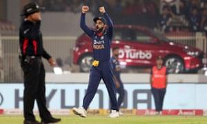 Virat Kohli of India celebrates victory.