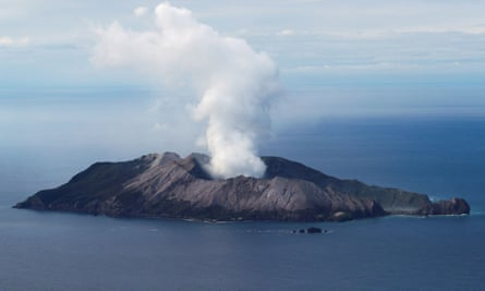 An aerial view of the Whakaari, also known as White Island volcano, in New Zealand, on 1 December, 2019