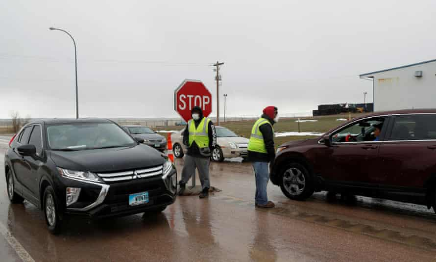 A checkpoint operates at the entrance to the Pine Ridge Indian Reservation in South Dakota.