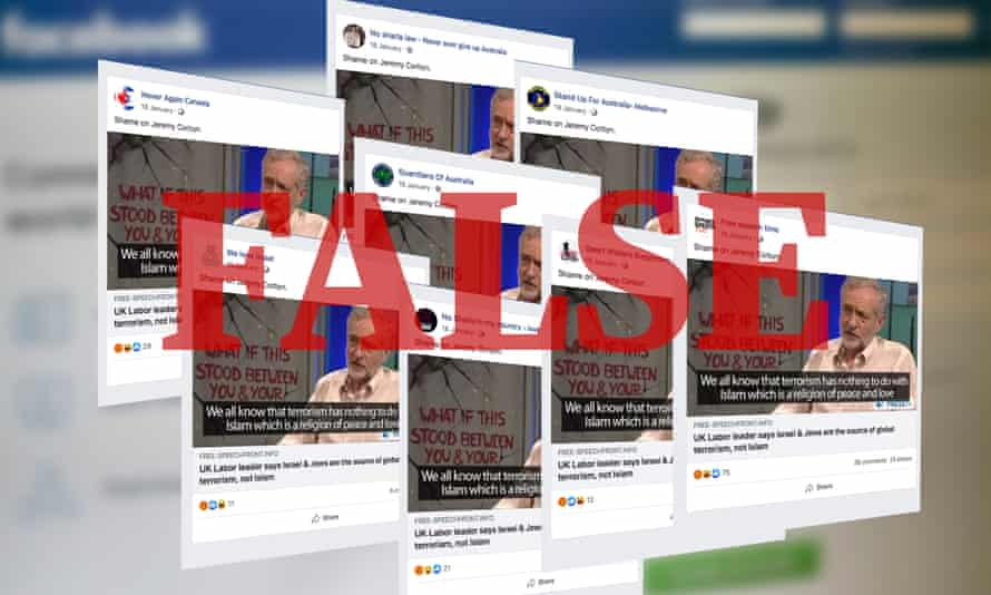 Identical Facebook posts attacking the UK Labour leader, Jeremy Corbyn, across a number of alt-right Facebook accounts.