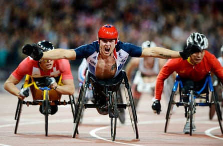 London 2012 Paralympic Games. Mens T54 800m final. David Weir of GB celebrates winning the race.