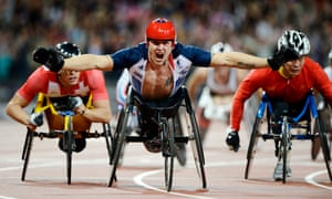 Team GB's David Weir celebrates winning the men's T54 800m final at the 2012 Paralympics: 'In 2012 he was our Usain Bolt.'