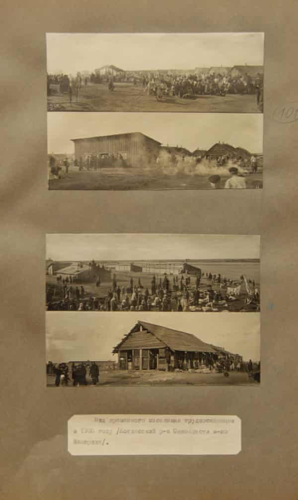 A temporary work camp as seen in 1930, in what is now the Arkhangelsk region in northern Russia.