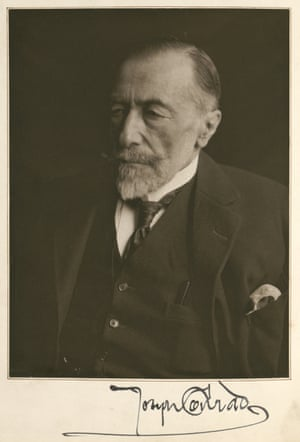 Signed portrait of Joseph Conrad, from a handwritten manuscript of Christmas Day at Sea (1923)