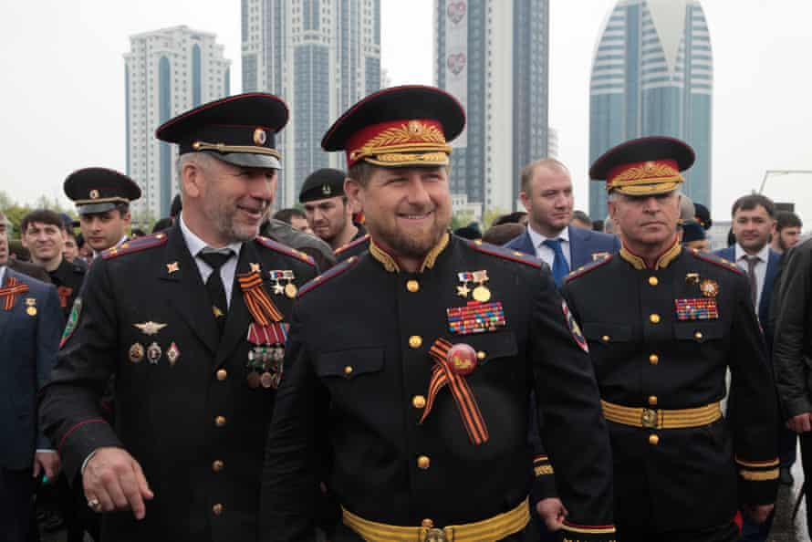 Kadyrov in Russian military uniform in Grozny in May this year.