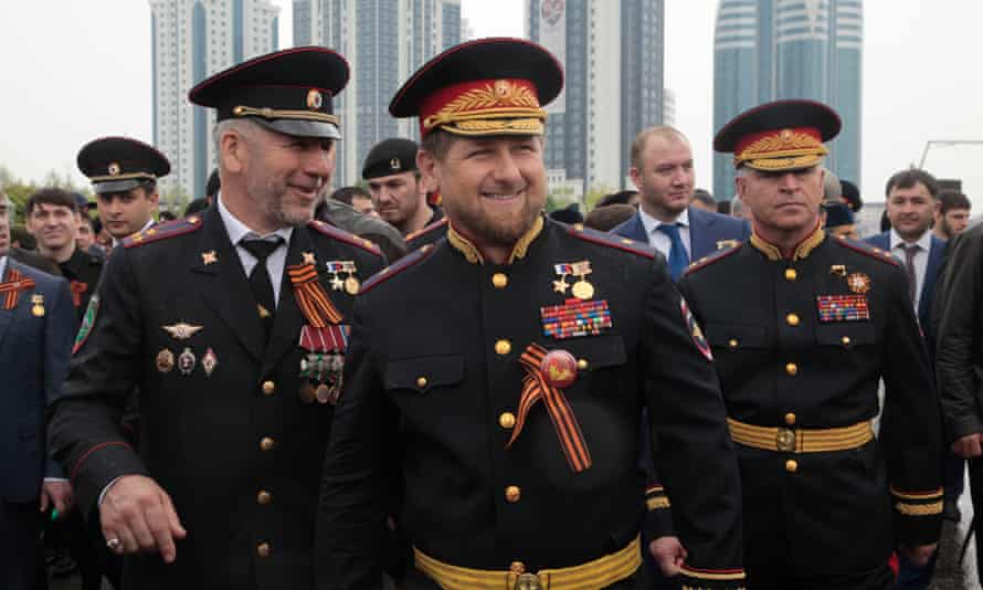 Ramzan Kadyrov (centre) attending celebrations in Grozny marking the 70th anniversary of victory over Nazi Germany.