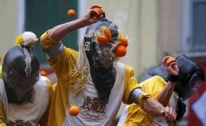 A participant is hit during the annual carnival