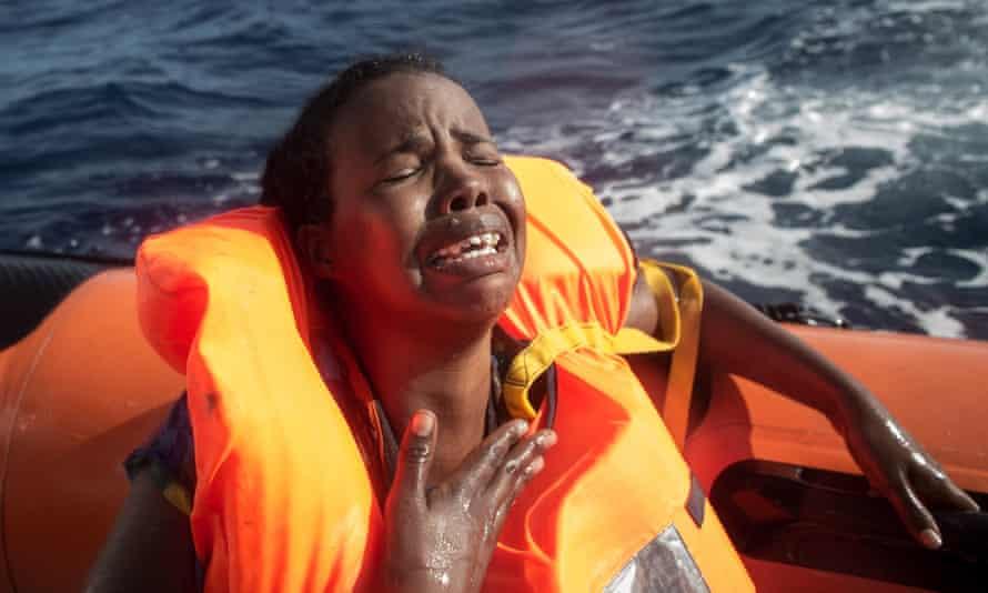 Migrant in a rescue boat