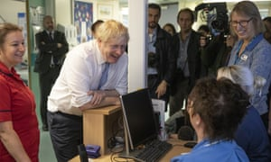 Boris Johnson chats to staff as he visits West Cornwall Community hospital on November 27, 2019 in Penzance, England