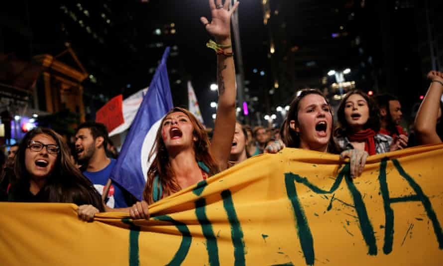 Women protesting in support of suspended Brazilian president Dilma Rousseff in São Paulo last week