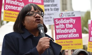 Diane Abbott speaks at a Stand Up To Racism Windrush Amnesty Demo at Parliament Square