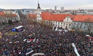 Large demonstration at Slovak National Uprising square