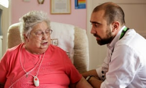Consultant geriatrician Riaz Dharamshi on a home visit to Annie Whittaker