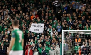 Ireland fans make their feelings known during the Euro 2020 qualifier against Georgia