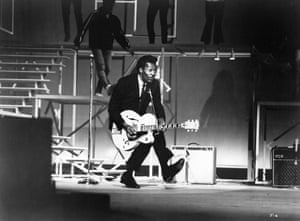Chuck Berry performs.