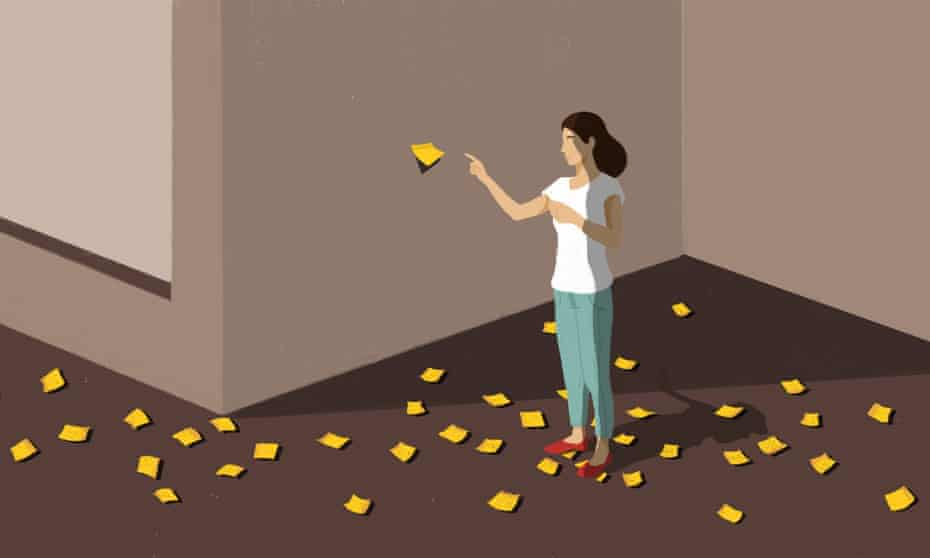 Illustration of a woman surrounded by Post-its on the floor, sticking one on the wall in front of her