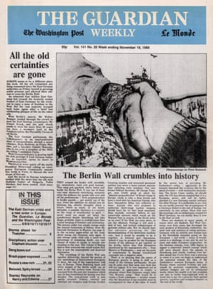 Guardian Weekly, 19 November 1989, front page, Berlin Wall (click to enlarge)