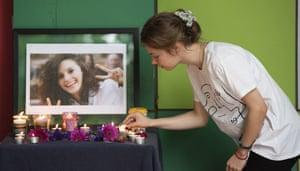 A vigil in the memory of Aiia Maasarwe is held at La Trobe University in Melbourne on 18 January.