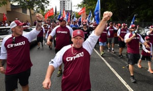 Members of the CFMEU  march on Labour Day