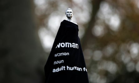 The Mary Wollstonecraft statue 'Mother of feminism' by artist Maggi Hambling is seen covered with a t-shirt