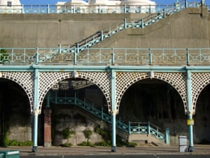 Madeira Terrace, Brighton Madeira Terrace is the most striking feature of Brighton's eastern seafront, but is in a very poor and deteriorating condition. It is a remarkable example of 19th century engineering, with 805 metres of cast iron arches.