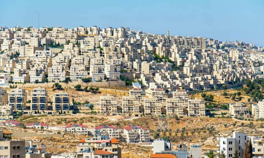 Israeli settlements on hills surrounding Bethlehem, West Bank.
