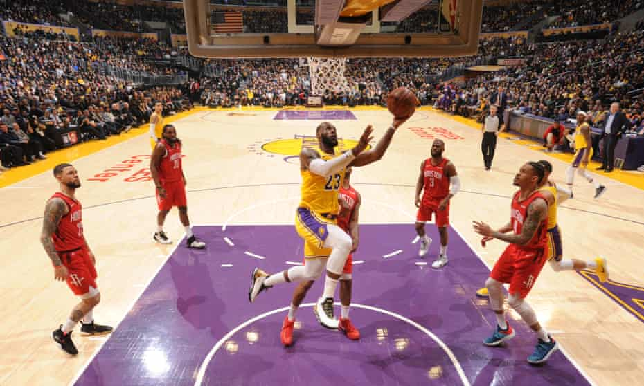 LeBron James in action for the Los Angeles Lakers against the Houston Rockets in the game attended by our winner Billy Taylor.