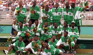 The Nigeria team after beating Argentina 3-2 in the men's football final.