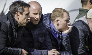 Gary Neville (left), with Salford City co-owners Nicky Butt (central) and Paul Scholes (right).