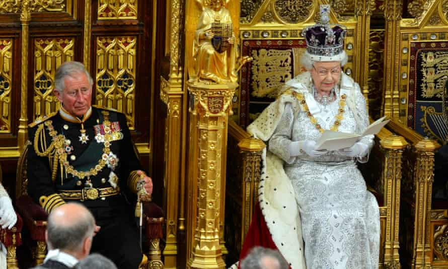 Queen Elizabeth delivers her speech during the state opening of parliament at the House of Lords, London alongside the Prince of Wales in 2013