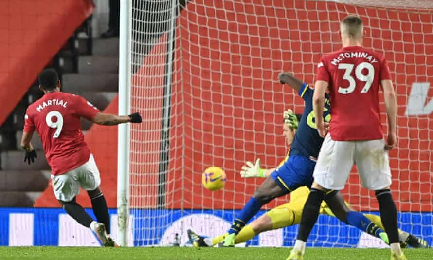 Substitute Anthony Martial rifles home United's eighth goal in their rout of Southampton
