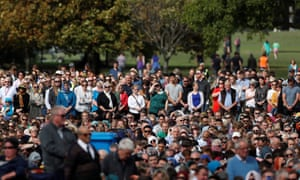People attend Friday prayers at Hagley Park.