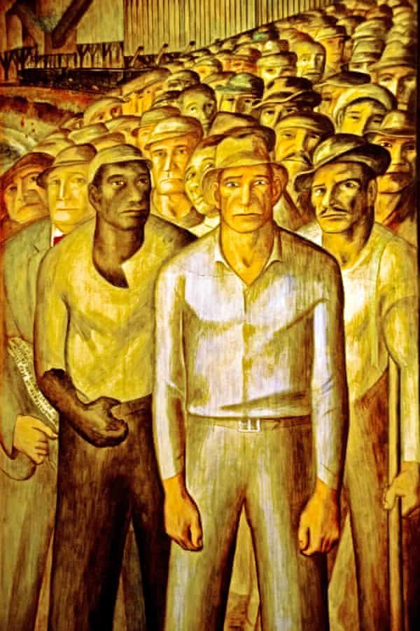 John Langley Howard's mural of unemployed California workmen (1934).