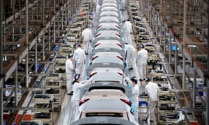 Workers on the production line at a Honda factory in Wuhan.